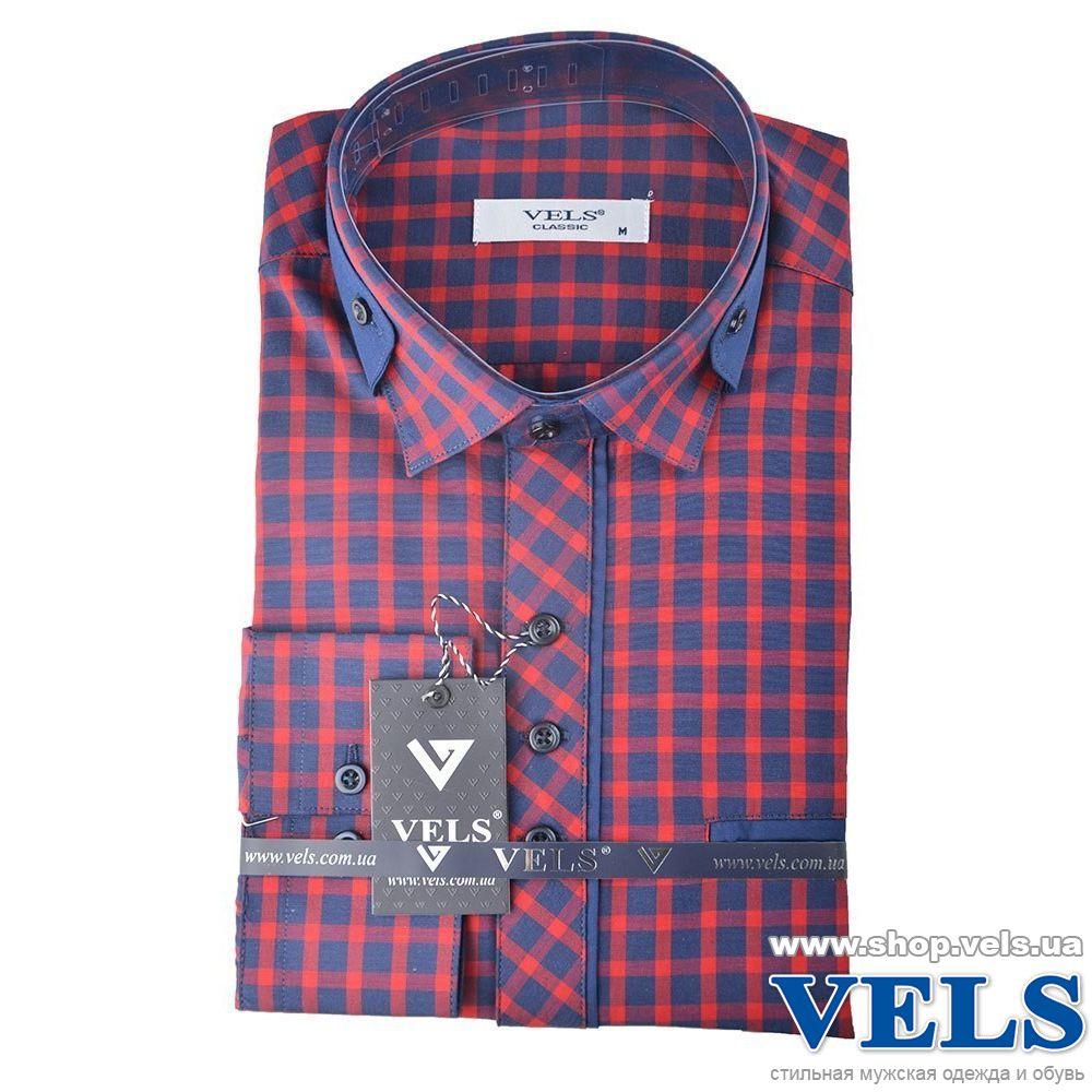 6697978e185 Рубашка мужская классическая VELS 5455 4 длинный рукав красно-синяя клетка  ...