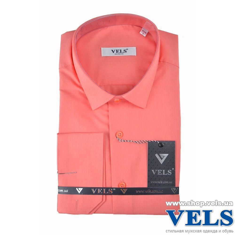 67fcb0c4dd5 Коралловая мужская приталенная рубашка с длинным рукавом VELS 154 ...